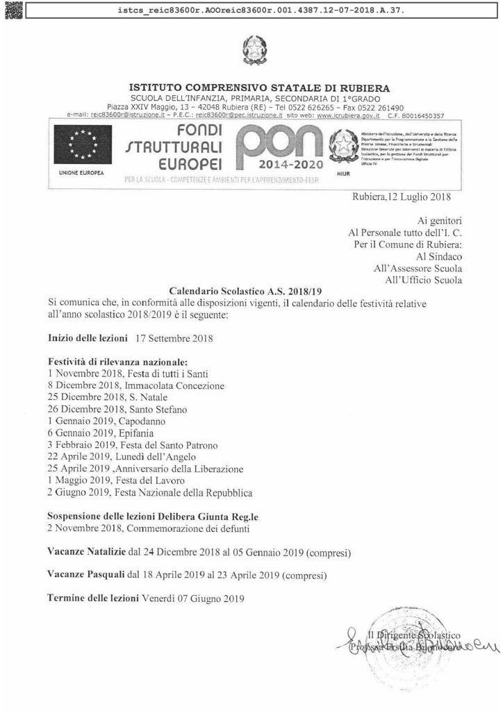 Miur Calendario Scolastico.Calendario Scuole Statali Di Rubiera Anno Scolastico 2018